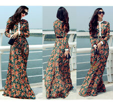 NEW Women LACE Floral LONG SLEEVE FULL SWEEP LONG MAXI DRESS SHEER Gown CRUISE