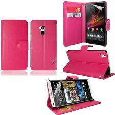 NEW Stylish Hot Pink Magnetic Wallet Flip Case Cover For Various Model FREE Film