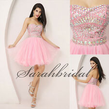 2014 Girls Pink Mini Homecoming Dresses Beads Tulle Prom Party Gowns Under 100