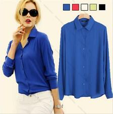 Korean Fashion Women Chiffon Tops Long Sleeve Button Down Shirt Casual Blouse