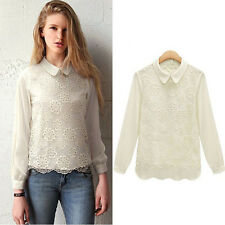 Women Chiffon Lace Crochet Long Sleeve Collar Casual Shirt Blouse Tops