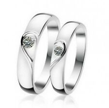 DESIGN 925 Sterling Silver Couple Ring Crystal Wedding Ring for Men Women A065