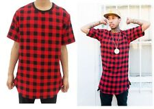 Extended Golden Zip Tartan Red Plaid Flannel Tee T-Shirt Side Zips