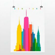Light Art New York Colorful City Minimalist A4 Pop Poster Decor Canvas Paintings