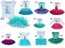Girls Frozen Princess Elsa Anna Top T-shirt+Tutu Skirt Kids Dress Outift Costume