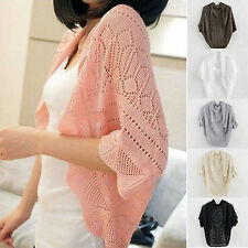 Women's Crochet Knit Top Shawl Batwing Sleeve Hollow Out Shrug Cardigan Sweater