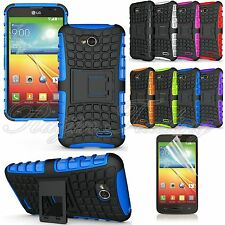 Rugged Armor Impact Hard Case Cover Stand For LG L70 D320 MS323 Exceed 2 + Film