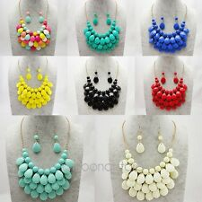 HOT Fashion Women Crystal Chunky Statement Bib Pendant Chain Choker Necklace