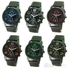 Men's Cool Analog Rubber Band Stainless Steel Hours Quartz Sports Wrist Watch