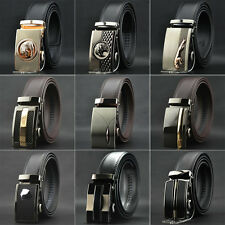 Mens Automatic Buckle Genuine Leather Belt Formal Waist Strap Belts Black Brown