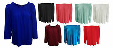 NEW WOMENS LADIES OFF THE SHOULDER LONG SLEEVE JERSEY TUNIC SLOUCH DRESS TOP