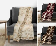Floral Chenille Sofa / SetteeThrow Heavy Chenille Quality Throw Over Bedspread