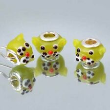 face bowtie  925 SterlingSilver Murano Glass Lampwork  Bead charm charms bangle