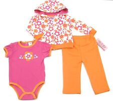Carters 3 Pieces Girls Bodysuit Orange New Born & Infant Outfit Full Zip Hooded