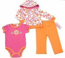 Carters 3 Piece Girls Bodysuit Orange Newborn Outfit Set Full Zip Hooded 6-9 Mon
