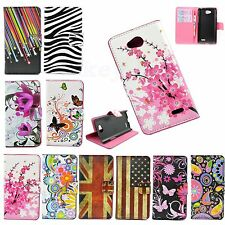 Colourful Leather Flip Card Holder Wallet Case Cover For LG Optimus L90 D405