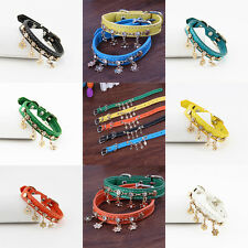 Rhinestone Adjustable Leather Dog Collar Pet Cat Puppy Safety Collars Fit 7.4-10
