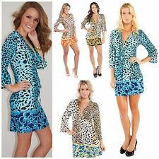 DONATELLA LEOPARD SCARF PRINT DRESS OR TUNIC TOP BELL SLEEVE SEXY SILKY KNIT