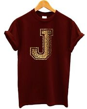 J Leopard T Shirt Shop Apparel Text Font Typography Print Swag Name Personal Top