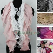 Fashion Pleated Ruffle Polka Dot Chiffon Stitching 2-Layer Stretch Long Scarf