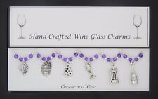 Cheese & Wine Set of Wine Glass Charms Birthday Present Wedding Christmas Party