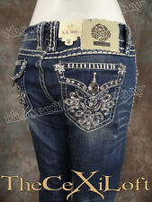 NWT Womens LA IDOL Bootcut Jeans with Cute Blossoming Flower Embroidery