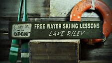 Custom Lake House Water Skiing Sign - Rustic Hand Made Vintage Wooden ENS1000636