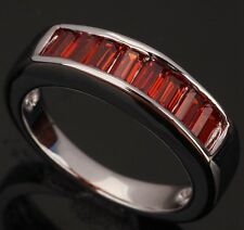 Fashion Jewelry Garnet Gemstones Silver Rings US#Size5 6 7 8 9 T0339