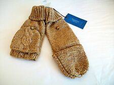 Simply Vera Wang Cable Knit Flap Fingerless Mittens Gloves Pure Night/ Cinnamon