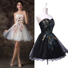 DISCOUNT SALE Retro Peacock Evening Cocktail Ball Gown Party Short Summer Dress