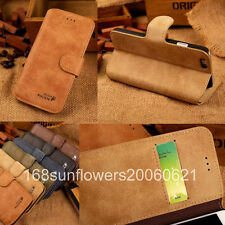 For Apple iPhone 6 PLUS 5.5'' Cowhide Real Leather Flip Stand Wallet Cover Case