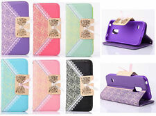 Cute BowKnot Lace Leather Wallet Purse Folio Flip Case Cover For Mobile Phones