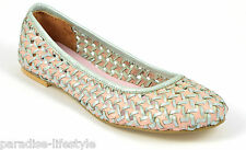 Womens Ladies Baby Blue Pink Woven Pumps Ballerina Ballet Dolly Flats Shoe Size