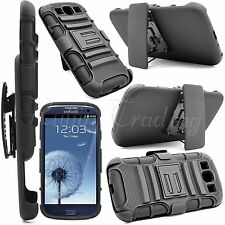 Rugged Heavy Duty Case + Belt Clip Holster Stand For Samsung Galaxy S3 III i9300