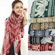 Fashion Women's Tribal Style Row Floral&Paisley&Elephants Print Long Scarf New