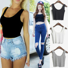 WOMEN'S SCOOP NECK CROPPED BELLY TOP SLEEVELESS FITTED TEE STRETCHY ef4a5p