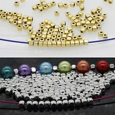 100/500Pcs Loose Cube Tibetan Silver Spacer Beads Jewelry Findings