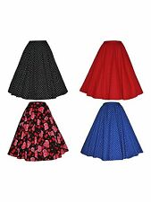 WOMENS 50'S RETRO VINTAGE COTTON ROCKABILLY SWING SKIRT 4 COLOURS NEW 10 - 20