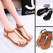 New Women Girl Metal Shoes sandals female Flat Heel T-Strap  Flip flops Sandel