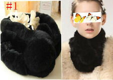 black  women lady's Real Rex Rabbit Fur Self-Tied Scarf  Wrap Neck Warmer