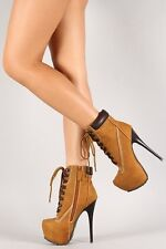 Timberland High Heel Lace Up Ankle Booties (Beyoncé Bonnie&Clyde) Sexy Show Boot