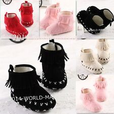 2014 fashion Cute Tassel Baby Girl Boots soft sole Crib baby Shoes 0-18months WM