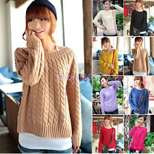 New Womens Slim Size Cable Crew Knitted Long Sleeve Jumper Sweater Pullover Top