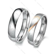 His and Her Love Heart Titanium Stainless Steel Couples Ring Lover Rings Gift
