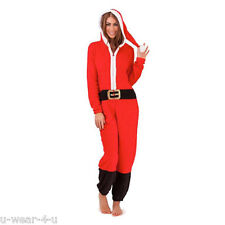 UNISEX SANTA STYLE ALL IN ONE MENS/LADIES ONESIE NIGHTWEAR CHRISTMAS FANCY DRESS