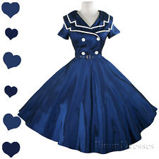 New Blue Sailor Full Skirt Rockabilly 50s Pinup Dress S M L Xl Xxl 1X 2X 3X Plus