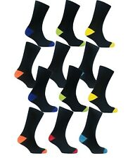 12 Pairs Of Men's Socks, Designer Cotton Rich Casual Work Boot Socks, Size 6-11