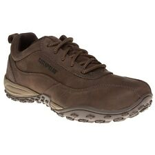 New Mens Caterpillar Brown Utilize Leather Trainers Lace Up