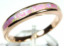 Rose Gold Plated 925 Sterling Silver Band Ring w/ Pink Fire Opal Inlay Size 6-9