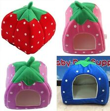 2014 New Popular Pet Cat Dog Soft Strawberry Bed House Warm Cushion Basket S/M/L